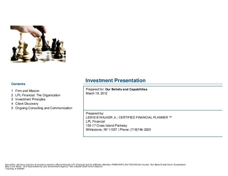 Investment Presentation     Contents     1 Firm and Mission                                                    Prepared ...