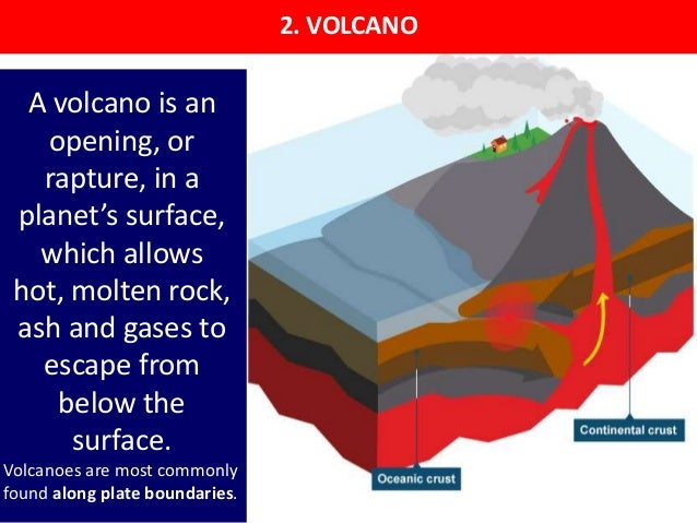 2. VOLCANO A volcano is an opening, or rapture, in a planet's surface, which allows hot, molten rock, ash and gases to esc...
