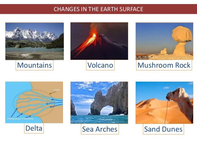 CHANGES IN THE EARTH SURFACE Mountains Volcano Mushroom Rock Delta Sea Arches Sand Dunes