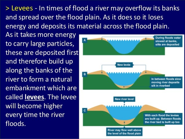 As it takes more energy to carry large particles, these are deposited first and therefore build up along the banks of the ...