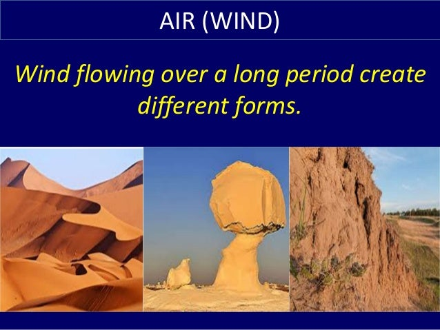 Wind flowing over a long period create different forms. AIR (WIND)