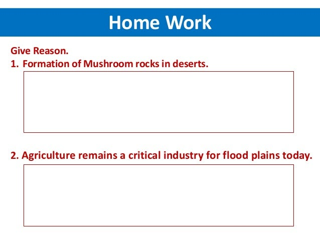Give Reason. 1. Formation of Mushroom rocks in deserts. 2. Agriculture remains a critical industry for flood plains today....