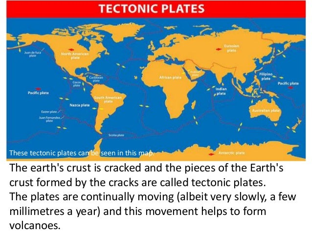 The earth's crust is cracked and the pieces of the Earth's crust formed by the cracks are called tectonic plates. The plat...