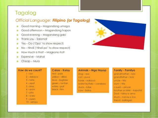 Tagalog Official Language: Filipino (or Tagalog)   Good morning – Magandang umaga    Good afternoon – Magandang hapon  ...