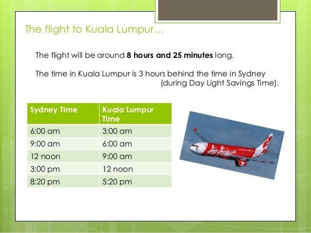 The flight to Kuala Lumpur… The flight will be around 8 hours and 25 minutes long. The time in Kuala Lumpur is 3 hours beh...