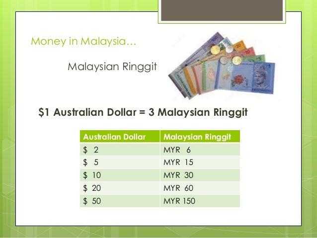 Money in Malaysia… Malaysian Ringgit  $1 Australian Dollar = 3 Malaysian Ringgit Australian Dollar  Malaysian Ringgit  $ 2...