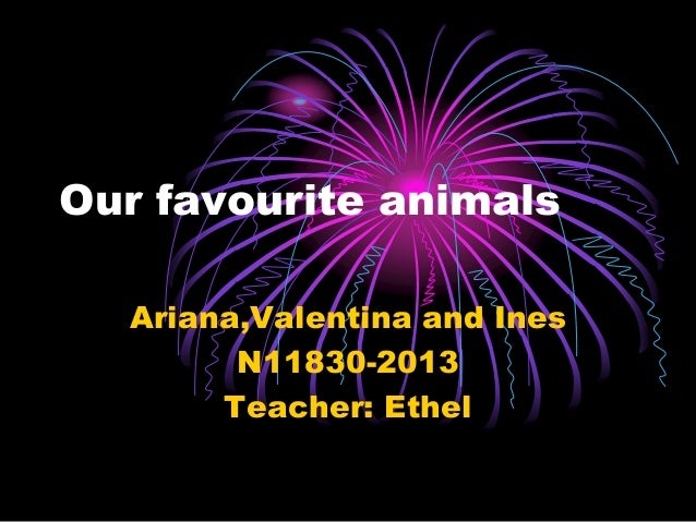 Our favourite animals Ariana,Valentina and Ines N11830-2013 Teacher: Ethel