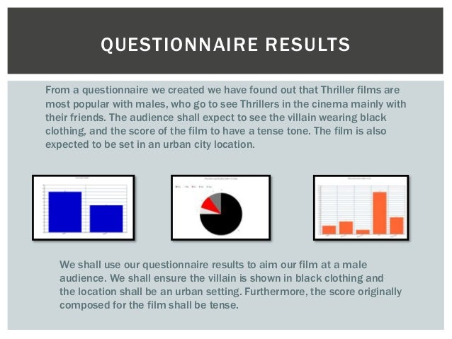 QUESTIONNAIRE RESULTS  From a questionnaire we created we have found out that Thriller films are  most popular with males,...