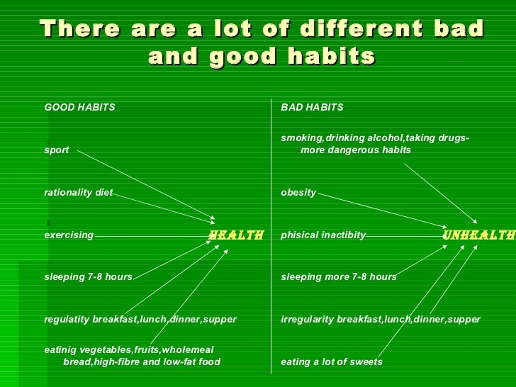 good bad habits essay The difference between good writers and bad writers has little to do with skill it has to do with perseverance bad writers quit good writers keep going.
