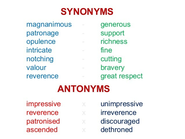 SYNONYMS magnanimous - generous patronage - support opulence - richness intricate - fine notching - cutting valour - brave...