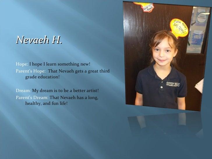 <ul><li>Nevaeh H. </li></ul><ul><li>Hope:  I hope I learn something new! </li></ul><ul><li>Parent's Hope:  That Nevaeh get...