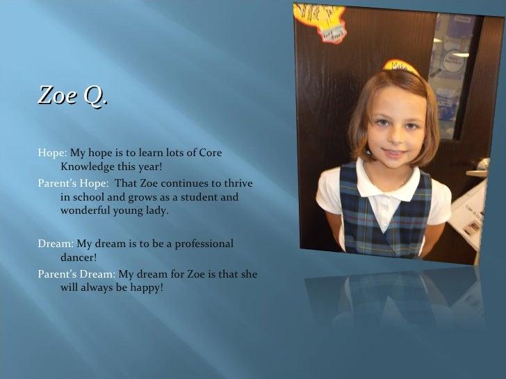 <ul><li>Zoe Q.  </li></ul><ul><li>Hope:  My hope is to learn lots of Core Knowledge this year! </li></ul><ul><li>Parent's ...