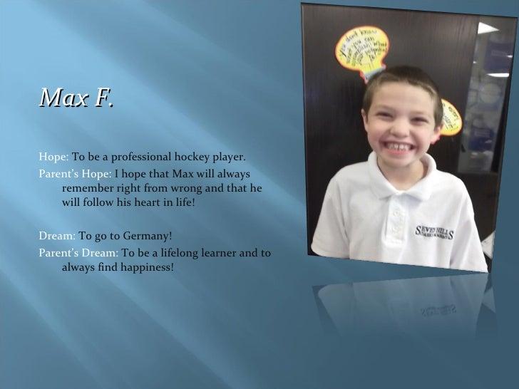 <ul><li>Max F. </li></ul><ul><li>Hope:  To be a professional hockey player. </li></ul><ul><li>Parent's Hope:  I hope that ...