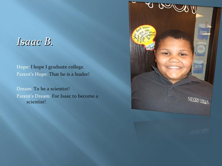<ul><li>Isaac B. </li></ul><ul><li>Hope:  I hope I graduate college. </li></ul><ul><li>Parent's Hope:  That he is a leader...