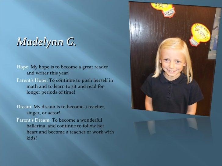 <ul><li>Madelynn G.  </li></ul><ul><li>Hope:  My hope is to become a great reader and writer this year! </li></ul><ul><li>...