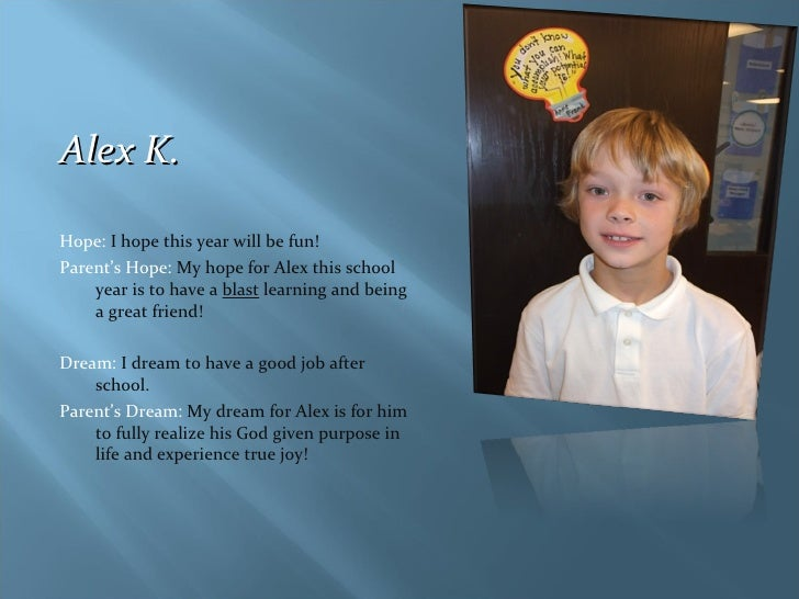 <ul><li>Alex K. </li></ul><ul><li>Hope:  I hope this year will be fun! </li></ul><ul><li>Parent's Hope:  My hope for Alex ...