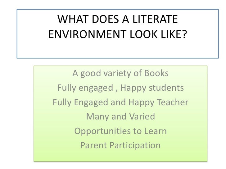 WHAT DOES A LITERATE ENVIRONMENT LOOK LIKE?<br />A good variety of Books<br />Fully engaged , Happy students<br />Fully En...
