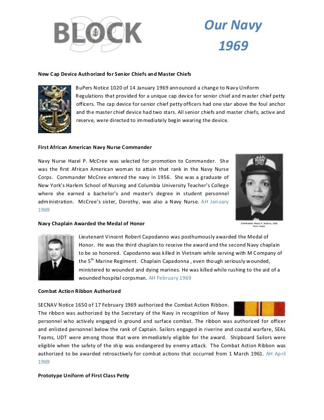 TOurNavy 1969 NewCapDeviceAuthorizedforSeniorChiefsandMasterChiefs BuPersNotice1020of14January1969anno...