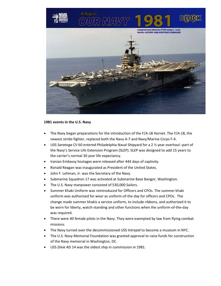 1981 events in the U.S. Navy•   The Navy began preparations for the introduction of the F/A-18 Hornet. The F/A-18, the    ...