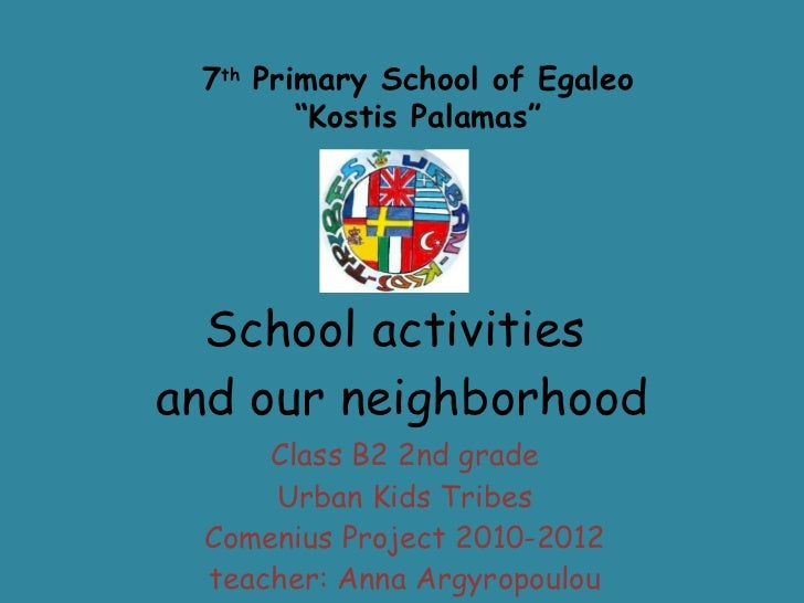 School activities  and our neighborhood Class B2 2nd grade Urban Kids Tribes Comenius Project 2010-2012 teacher: Anna Argy...