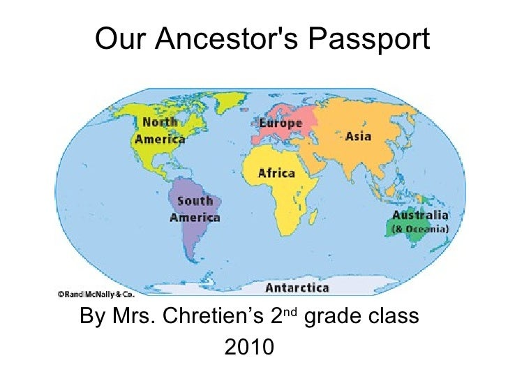 Our Ancestor's Passport By Mrs. Chretien's 2 nd  grade class 2010