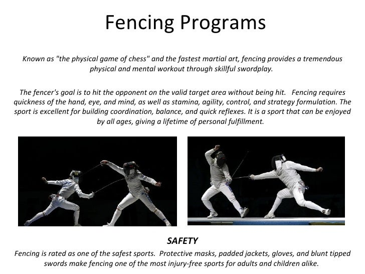 """Fencing Programs Known as """"the physical game of chess"""" and the fastest martial art, fencing provides a tremendou..."""