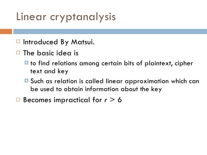 compare differential and linear cryptanalysis