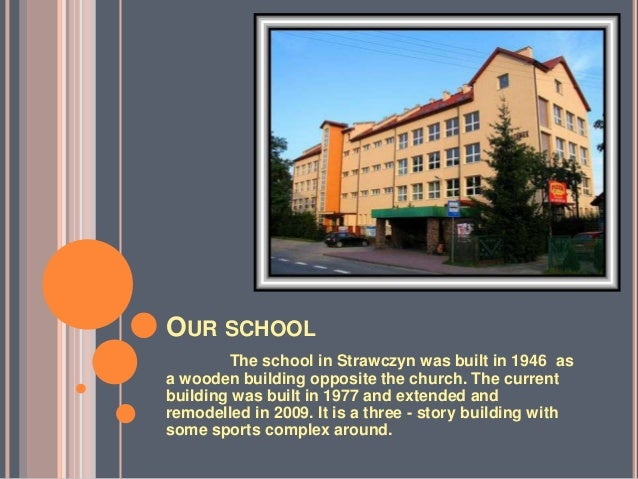 OUR SCHOOL        The school in Strawczyn was built in 1946 asa wooden building opposite the church. The currentbuilding w...