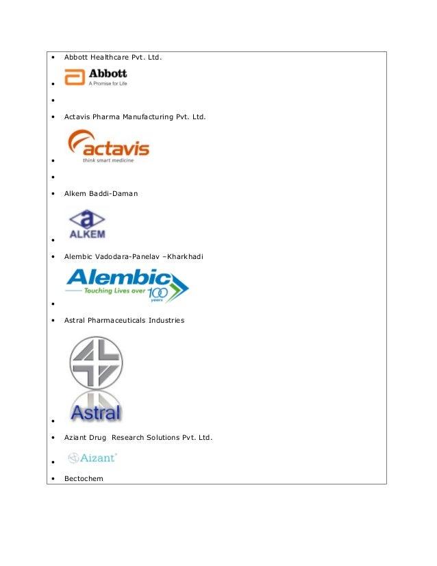 • Abbott Healthcare Pvt. Ltd. • • • Actavis Pharma Manufacturing Pvt. Ltd. • • • Alkem Baddi-Daman • • Alembic Vadodara-Pa...