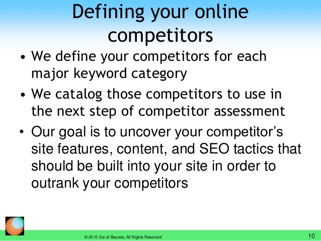 Defining your online competitors • We define your competitors for each major keyword category • We catalog those competito...