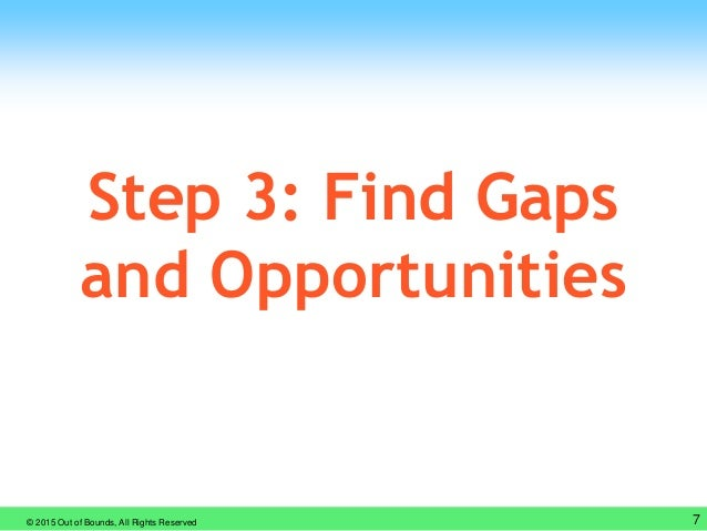 © 2015 Out of Bounds, All Rights Reserved 7 Step 3: Find Gaps and Opportunities
