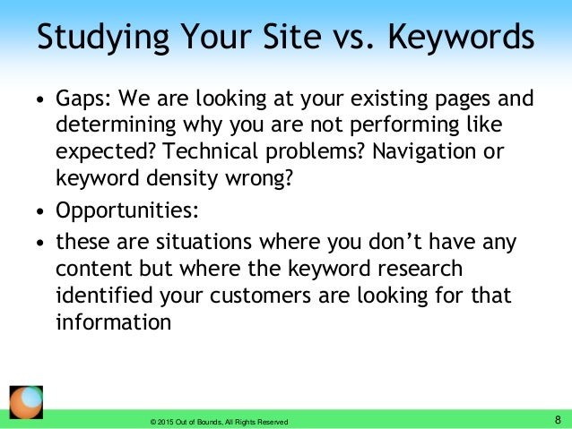 Studying Your Site vs. Keywords • Gaps: We are looking at your existing pages and determining why you are not performing l...