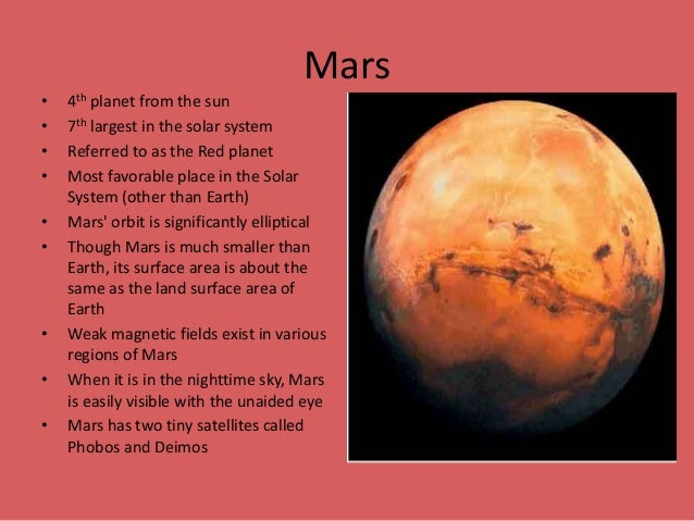 Planet Mars Pictures And Information on Science Projects Solar System