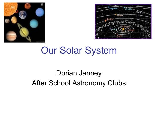 Our Solar SystemDorian JanneyAfter School Astronomy Clubs