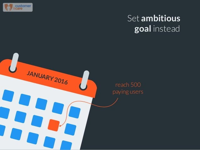 Set ambitious goal instead reach 500 paying users JANUARY 2016