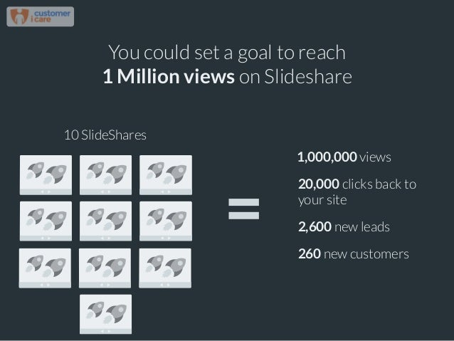 You could set a goal to reach 1 Million views on Slideshare 10 SlideShares 1,000,000 views 20,000 clicks back to your site...