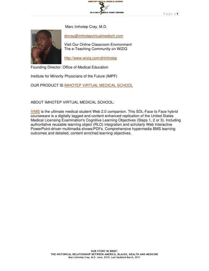 Page |9                     Marc Imhotep Cray, M.D.                    drcray@imhotepvirtualmedsch.com                    ...