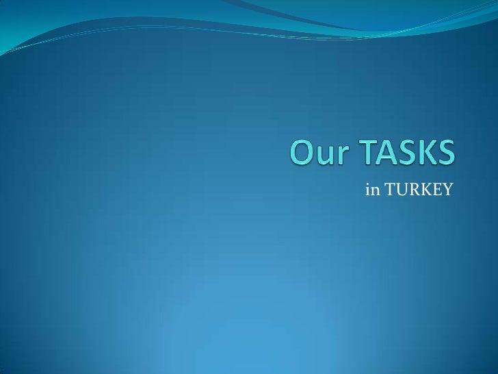 Our TASKS<br />in TURKEY<br />
