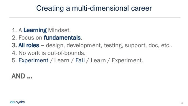 Creating a multi-dimensional career 10 1. A Learning Mindset. 2. Focus on fundamentals. 3. All roles – design, development...