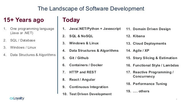 The Landscape of Software Development 15+ Years ago 1. One programming language (Java or .NET) 2. SQL / Database 3. Window...