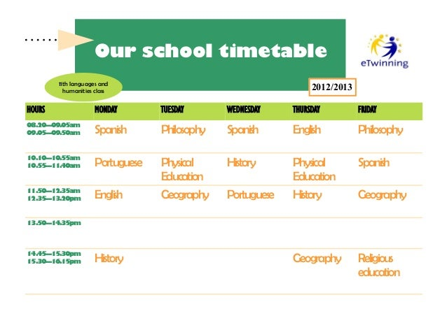 Our school timetable        11th languages and          humanities class                                       2012/2013HO...