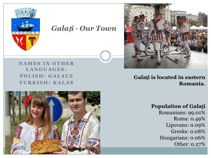 Galați - Our TownNAMES IN OTHER  LANGUAGES:POLISH: GAŁACZ              Galați is located in easternTURKISH: KALAS         ...