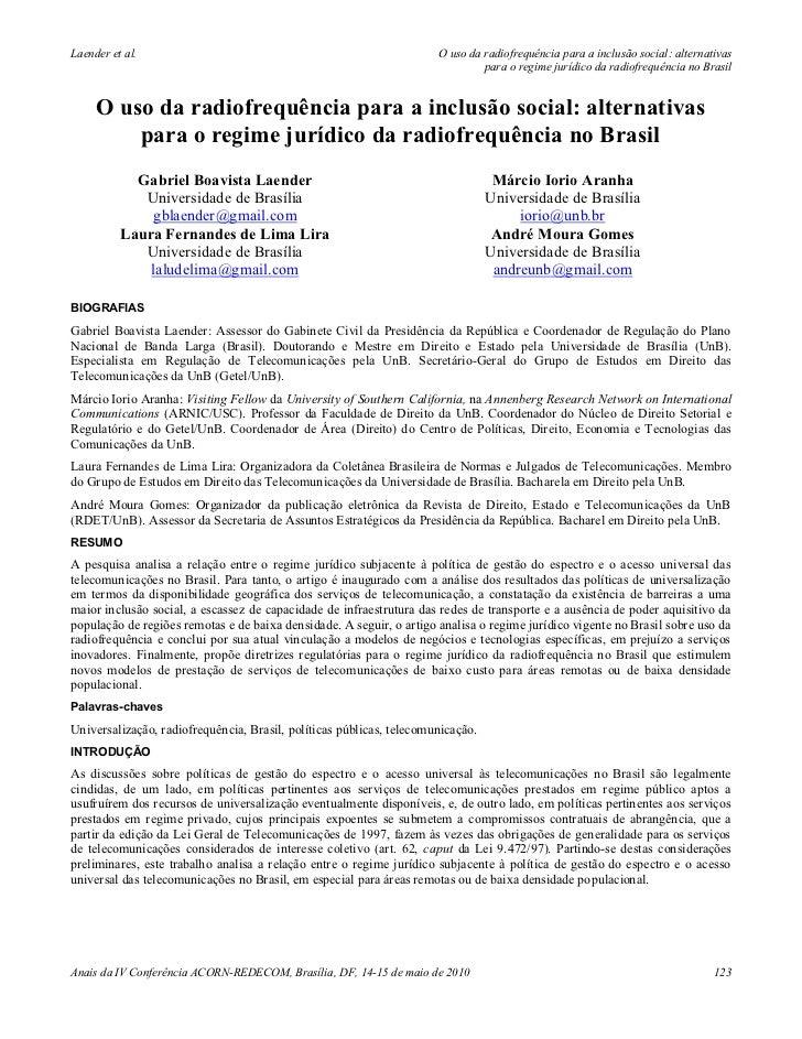 Laender et al.                                                        O uso da radiofrequência para a inclusão social: alt...