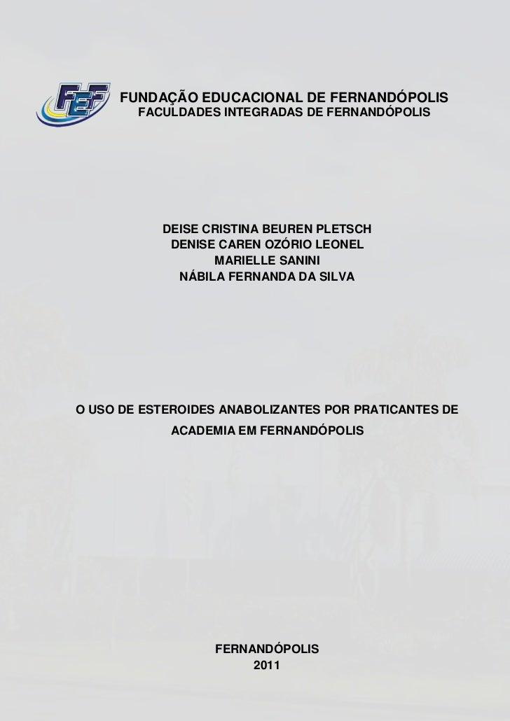 FUNDAÇÃO EDUCACIONAL DE FERNANDÓPOLIS        FACULDADES INTEGRADAS DE FERNANDÓPOLIS           DEISE CRISTINA BEUREN PLETSC...