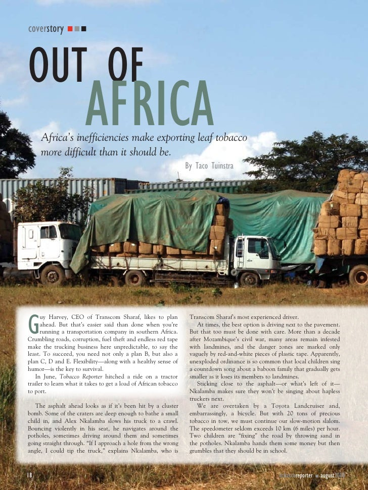 coverstory    OUT OF                         AFRICA      Africa's inefficiencies make exporting leaf tobacco      more dif...