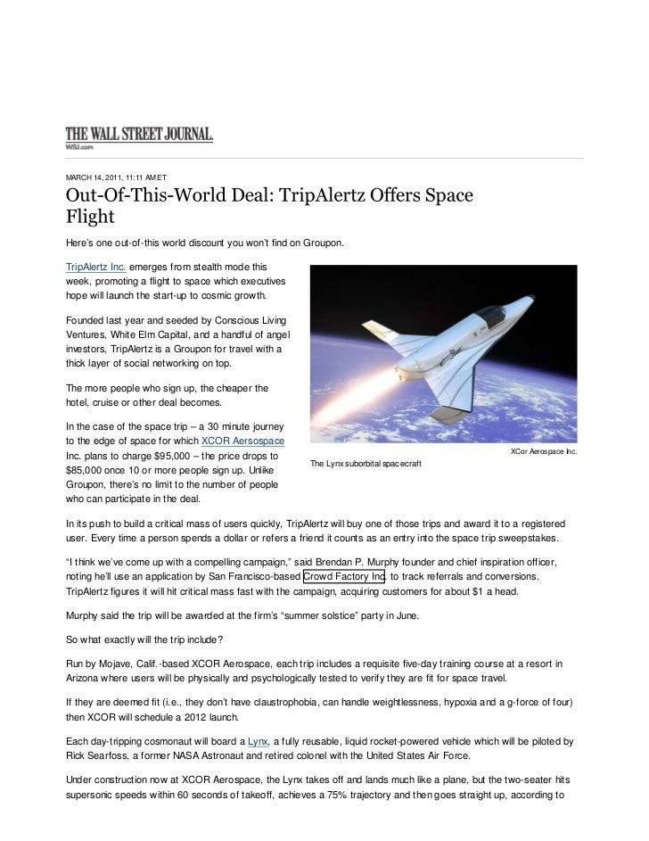Out-Of-This-World Deal: TripAlertz Offers Space Flight - Venture Capita...     http://blogs.wsj.com/venturecapital/2011/03...
