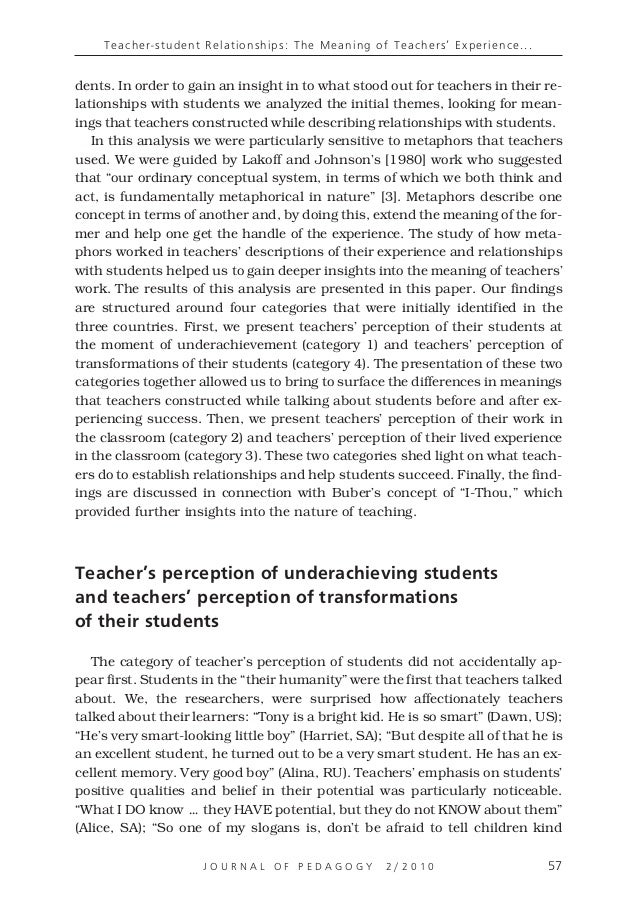 Teacher-student Relationships: The Meaning of Teachers' Experience Wo…