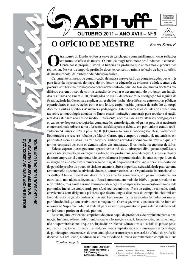 Notícias                                 O OFÍCIO DE MESTRE                                                             ou...