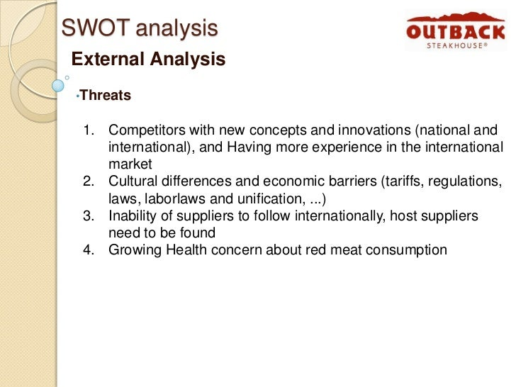 swot outback Outback steakhouse swot analysis profile additional information what is a  swot analysis it is a way of evaluating the strengths, weaknesses,  opportunities,.