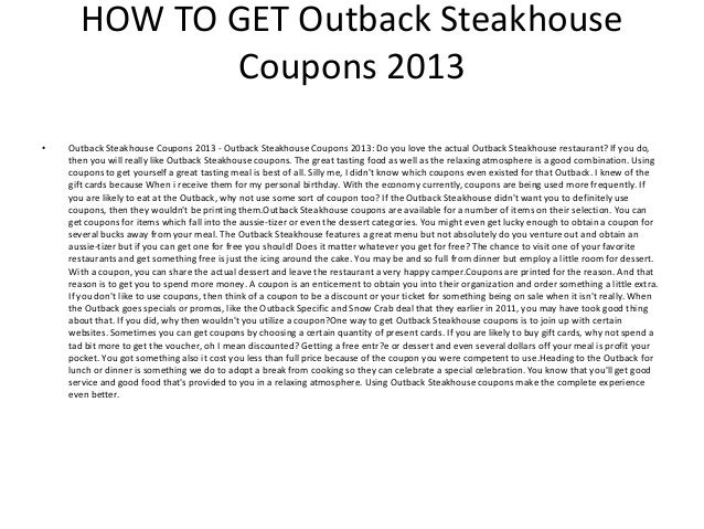 photograph about Outback Coupons Printable named Outback Steakhouse Discount codes 2013 - Printable Outback
